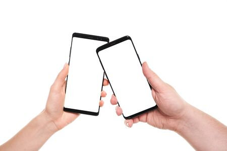 Wireless data transfer between two smartphones blank screen with modern frameless design isolated on white background