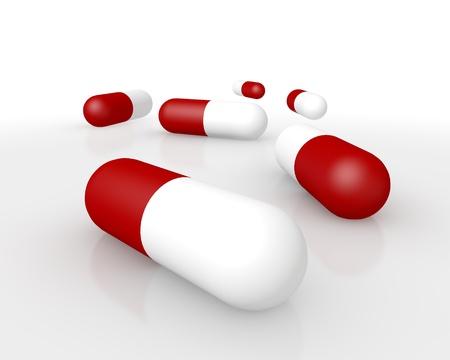 3d rode en witte capsules voor het toedienen van een set dosering van medicijnen, antibiotica, voedingssupplementen, pijnstillers of geneesmiddelen Stockfoto