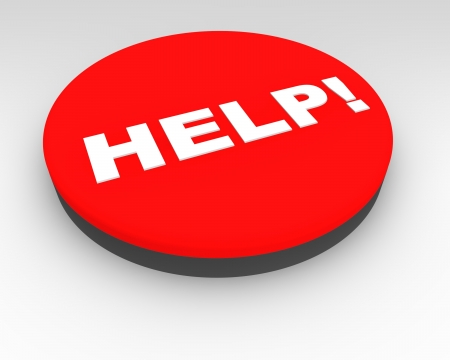 Red Help button with exclamation mark to be pressed in order to summon assistance in an emergency or in the event of a problem Stock Photo - 15363493