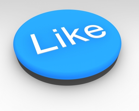 depress: Blue social media Like button to connect with your favourites and friends and establish contact on social media sites