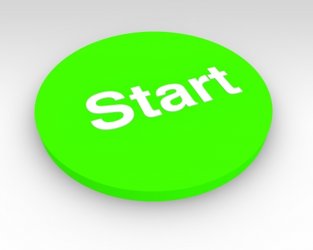 activation: 3d green Start button to press to activate or begin a process or machine