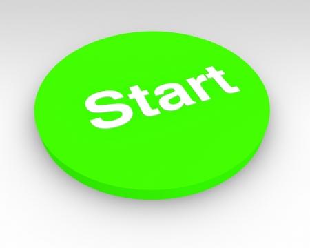 uaktywnić: 3d start zielony przycisk nacisnąć, aby włączyć lub rozpoczęcia procesu lub maszyny Zdjęcie Seryjne