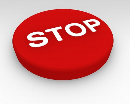 Red Stop button for use in an emergency or to halt or bring to an end a process on machinery or equipment Stock Photo - 15363501