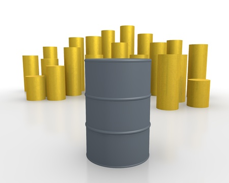 Oil barrel against rising gold bars photo