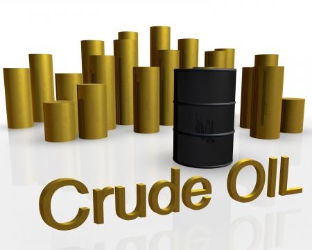 3d illustration of oil barrel against pile of gold coins Stock Illustration - 15425473