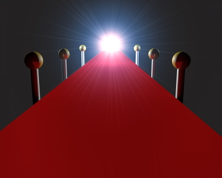 3d render of an empty red carpet with bright light at the end for celebritied and VIPs celebrating a premiere, awards or luxury event photo