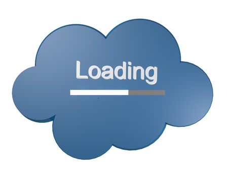 datacentre: Blue cloud icon with Loading text and progress bar symbolic of loading data up into central online computer cloud storage facility