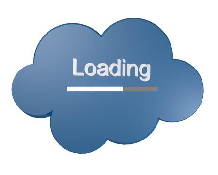Icono de la nube azul con texto de carga y barra de progreso simbólico de la carga de datos hasta en instalación central de almacenamiento online ordenador nube Foto de archivo - 15886845