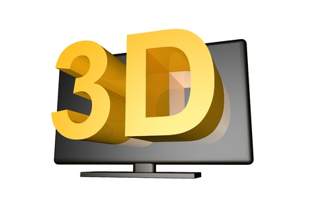 televison: Computer gennerated image of a televison screen with 3d text with reflection to simulate three dimensional television viewing Stock Photo