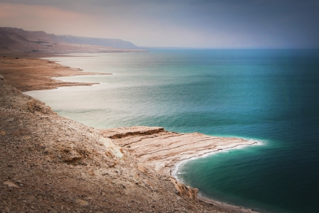 deep sea: Panoramic view over the Dead sea, Israel Stock Photo