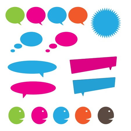 Conversation icon set that including speaking and thinking bubbles Stock Photo - 18382408