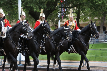 queen elizabeth ii: Cavaliers practice at the parade rehearsal for the official birthday of Queen Elizabeth ll  Editorial