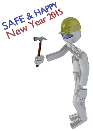 Robot Construction Builder in New Year Job Safety Themed Image photo