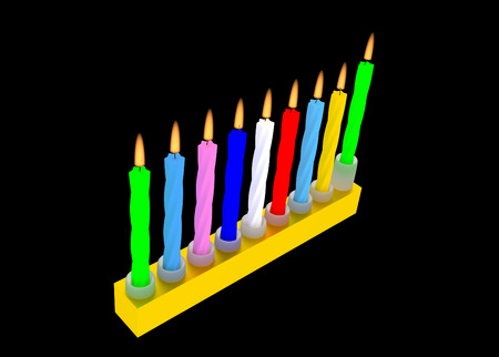 hanukka: illustration of Jewish Menorah with colorful Hanuka candles