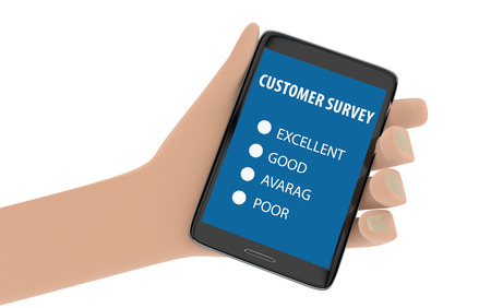 Illustration of hand holding smartphone with customer survey on the screen illustration