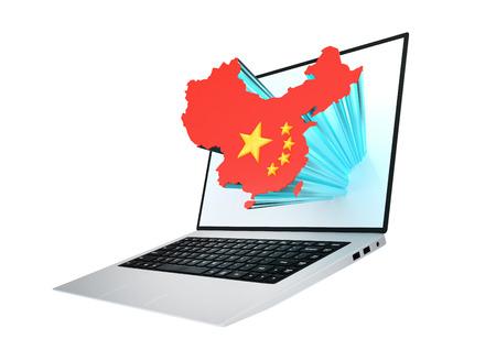 chinese map: Computadora port�til moderna con el mapa de China contiene la bandera china Foto de archivo