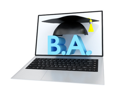initials: Bachelor Degree Initials With Academic Graduation Cap On A Laptop Screen Stock Photo