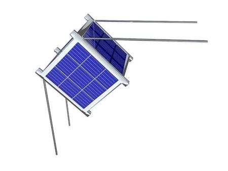 3D illustratie van Nano satelliet, ook wel bekend als geminiaturiseerde satelliet. Op wit wordt geïsoleerd