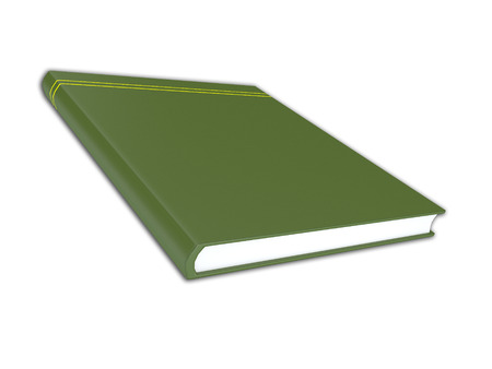 graphic novel: 3D render illustration of generic green book with no title on the cover