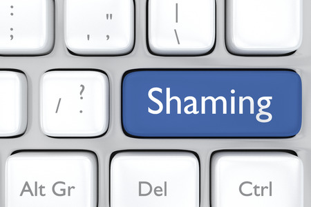 humility: 3D render illustration of social media shaming button on a keyboard