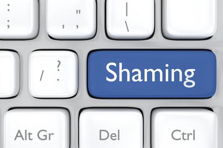 shaming: 3D render illustration of social media shaming button on a keyboard