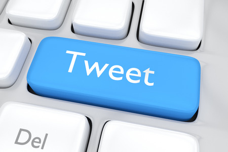 3D illustration of a blue tweet button. Call for action on social media concept.