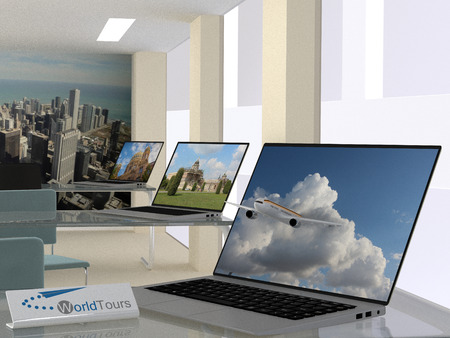 travel agency: Travel agency concept with an interior view of the agency with open laptops displaying travel landscapes and one in the foreground with a jetliner exiting the screen with blue sky and clouds