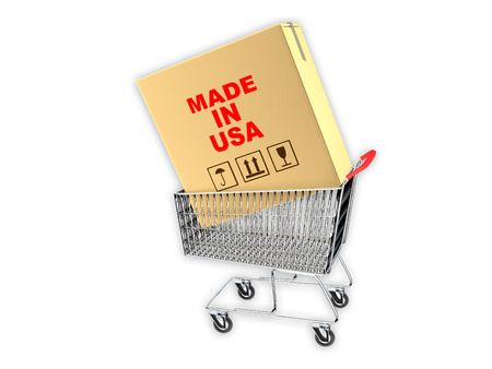 millboard: Cardboard Box With Made in USA Print Inside A Metal Retail Store Shopping Cart. Shooping US products concept.