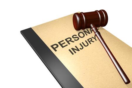 Lesiones personales titulado en documentos legales carpeta con martillo aislado en blanco