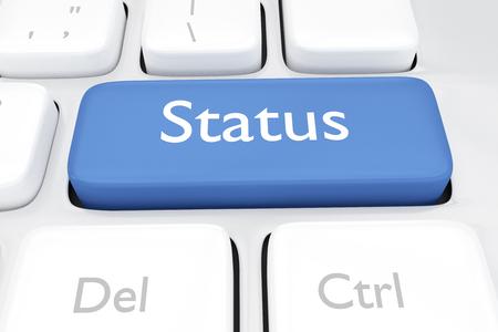 3 D レンダラ ・ オンラインのソーシャル メディア ステータス キー] ボタンの図 写真素材