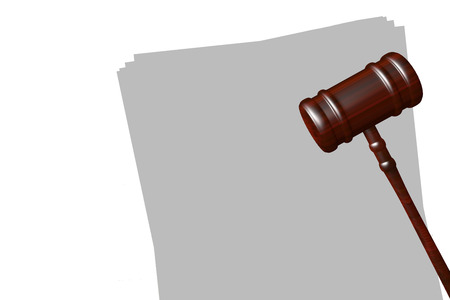 blank papers: Render illustraion og gavel on blank papers isolated on white Stock Photo
