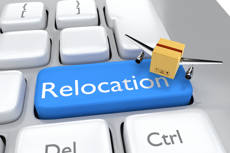 relocate: Keyboard button with the word relocation and box with wing Stock Photo