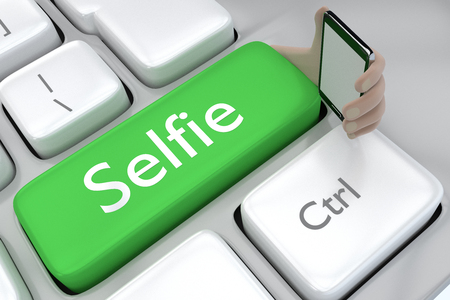 his: Selfie button taking his on self portriat on mobile phone
