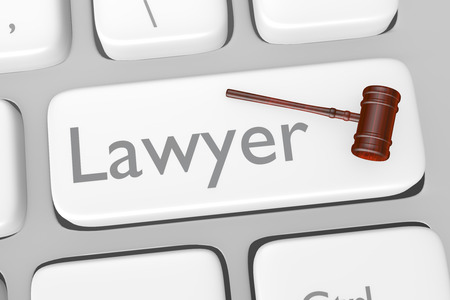 social system: Render illustration of lawyer button on a keyboard