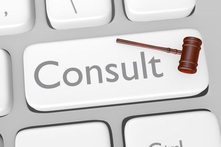 consulting: Render illustration of legal consult button on a keyboard Stock Photo