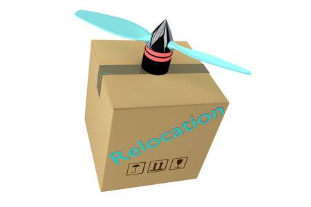 relocation: 3d render of relocation carton box or container with propeller Stock Photo