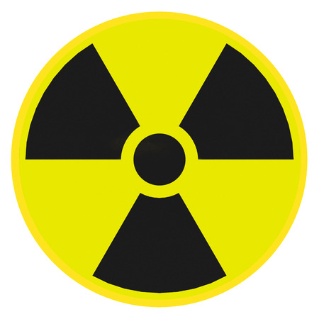 Render illustration of radioactive warning sign