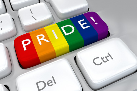 sex discrimination: Render illustration of computer keyboard, with the print PRIDE! on a button painted with the rainbow colors of the gay community