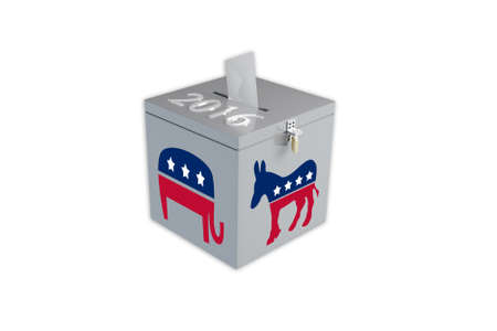 election choices: Render illustration of ballot box with the print 2016, the Republican elephant image and Democratic donkey image, isolated on white. Stock Photo