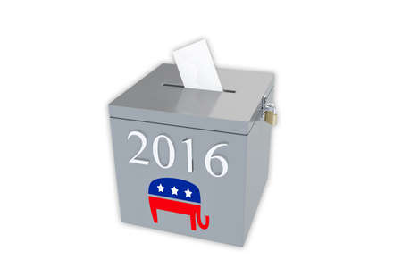 electorate: Render illustration of ballot box with the print 2016 and the Republican elephant image, isolated on white.