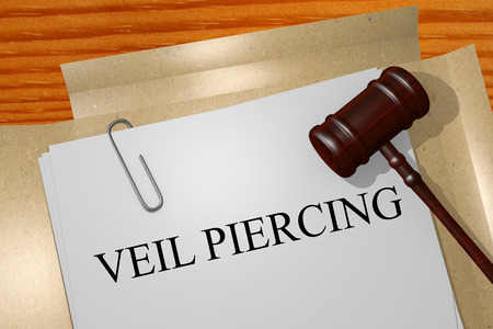 legal documents: Veil piercing Title On Legal Documents Stock Photo