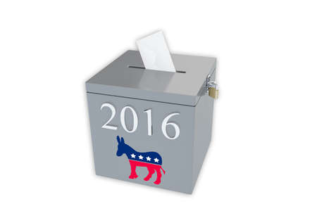electorate: Render illustration of ballot box with the print 2016 and the Democratic donkey image, isolated on white.