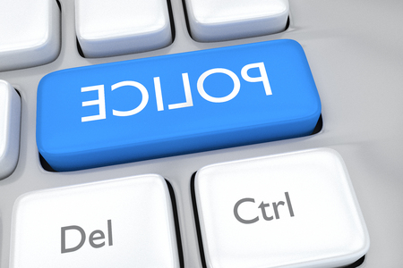 mirror image: Render illustration of computer keyboard with the mirror image of the word POLICE, on a pale blue button