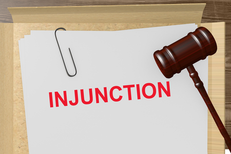 eviction: Injunction Title On Legal Documents Stock Photo
