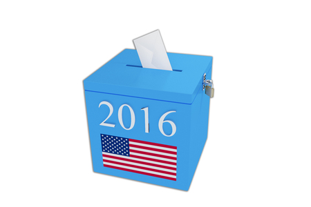 secrecy of voting: Render illustration of ballot box with the print 2016 and the United States flag