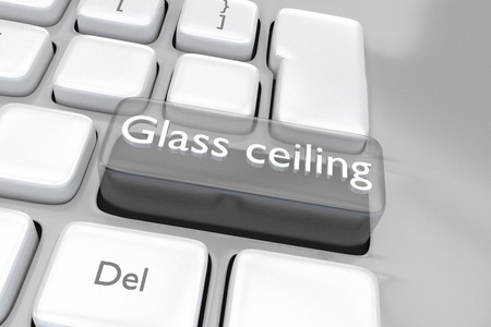 glass ceiling: Render illustration of computer keyboard with the print Glass ceiling on a transparent button