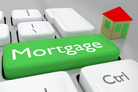 Render illustration of computer keyboard withthe print Mortgage on a green button, and a house nearby Archivio Fotografico