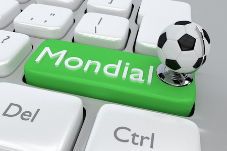 mondial: Render illustration of computer keyboard with the print Mondial and footbal globe, on a green button Stock Photo