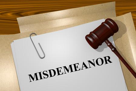 prosecute: Misdemeanor Title On Legal Documents Stock Photo