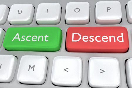 descend: Render illustration of computer keyboard with the print Ascent on a green button, and the print Descend on a nearby red button Stock Photo